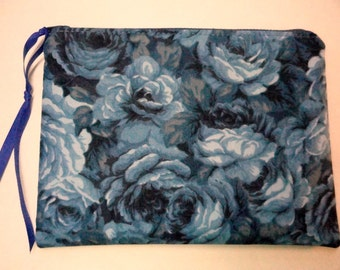 Fabric Gadget Pouch-  Cosmetic Bag  - Zipper Pouch -  Makeup Bag -  Cotton Zip Pouch - Blue Roses