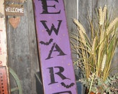 "Primitive Large Holiday  Wooden Painted Halloween Subway Sign  "" BEWARE  "" Crows Mummy  Pumpkins Bats Country Housewares  Folkart"