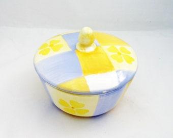 Vintage Sugar Bowl, Yellow and Blue Sugar Bowl, Porcelain Sugar Bowl,  UK Seller