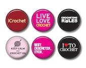 Crochet set of 6 button badges or fridge magnets