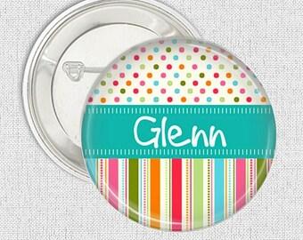 Button badge-  Candy stripe medium name pinback button badge