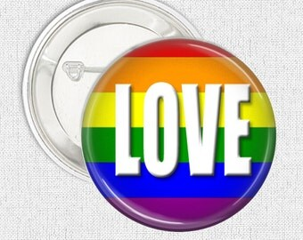 Rainbow pinback button badge - Love button badge