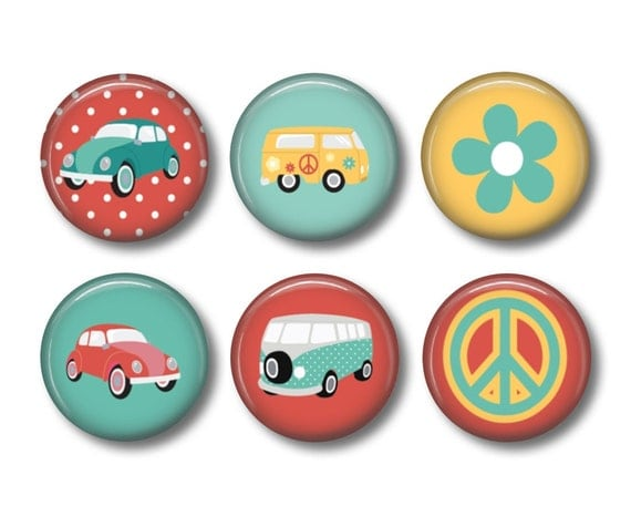 Retro Car button badges or fridge magnets