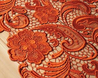 orange Lace Fabric, venise lace, guipure lace fabric,  retro floral Lace Fabric