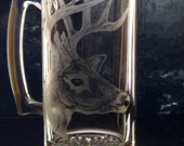 Whitetail deer glass beer mug , barware glassware mancave