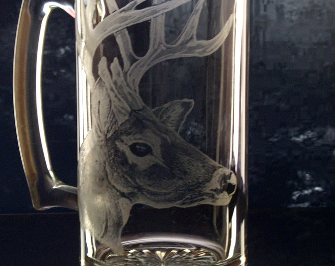 Beer Mug Whitetail deer Clear Glass Rustic Etched barware glassware mancave groomsmen gift personalized engraved glass Stein