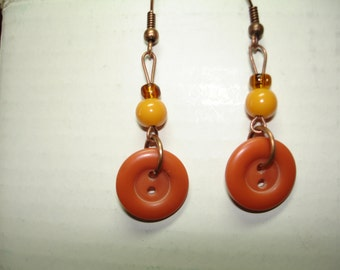 CANYON SUNSET -BUTTON Earrings - Dangle Style - Coppertone - Orange- Buttons and glass beads - Button Jewelry