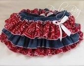 Beautiful Parley Ray Red Bandanna and Denim Cowgirl All Around Ruffle Skirt Girl Ruffled Bloomers/ Diaper Cover
