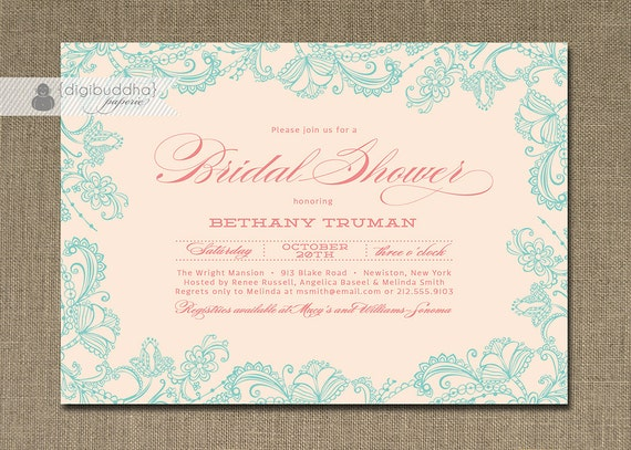 Turquoise And Pink Wedding Invitations: Lace Bridal Shower Invitation Pink Aqua Blue Pastel Teal
