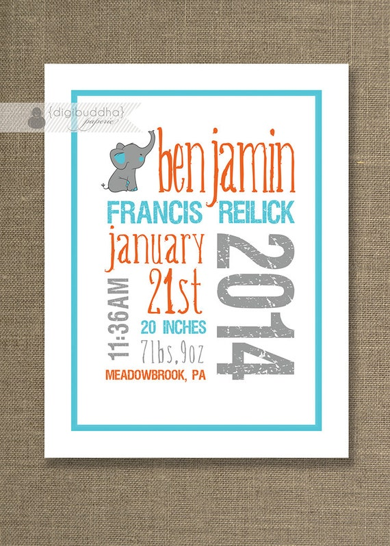 Baby Elephant Birth Announcement Poster PRINTABLE Art Print Custom – Birth Announcement Poster