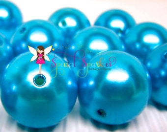 12 Pearl Beads TEAL Bubblegum Beads Round Imitation Pearl 22mm