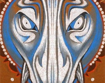 blue boar, hog art, totem art, spirit animal, hi-res digital download