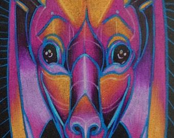 small print, pink night bat art, totem art, spirit animal, hi-res digital download hippopotamus