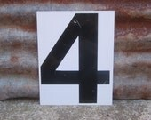 Vintage  Metal Number 4 or Number 3 Four or Three Double Sided  White and Black Gas Station Price Sign Address or Lucky Number Display Sign