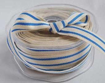 Cotton natural and blue stripe ribbon, 1m (1.1yard)