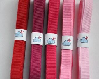 Woven grosgrain ribbon, 'Summer Love' colour set, 15m (16 yards)