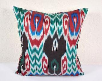 """Ikat Pillow, Peaks of Tashkent 20"""" Ikat Pillow Cover - P_A526-1AA3, Ikat throw pillows, Designer pillows, Decorative pillows, Accent pillows"""