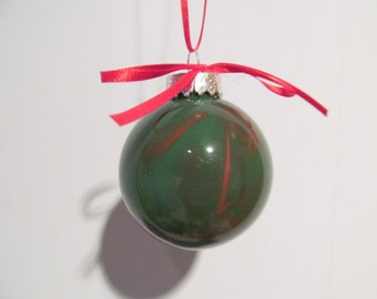 Small Green and Red Painted Glass Ornament