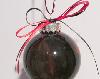 Small Black and Red Painted Glass Bulb