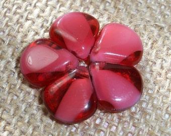 Czech Glass Petal Bead 11mm Raspberry White Pink BERRY SLUSH (10)