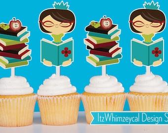 Bookworm Die Cut Cupcake Topper (One Dozen)