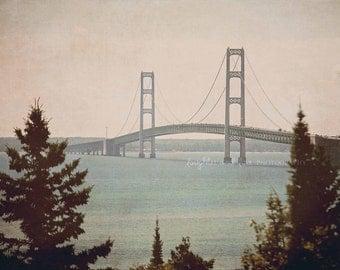 Vintage Mackinac Bridge Photo Gallery Wrapped Canvas, Travel Photography, Lake Michigan Huron Mackinaw Art, Livingroom Wall Art Home Decor