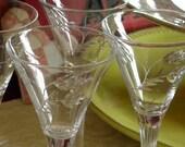 Set of Four Martini Vintage Etched Crystal Cut Glasses