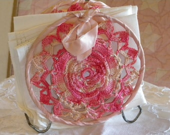 Shabby Vintage Varriegated Pink Doily Napkin Holder and Set of Four Vintage White Luncheon Napkins and Matching Small Table Cloth