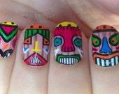 Nail polish strips. TWO SETS of nail decal wraps. Tiki men