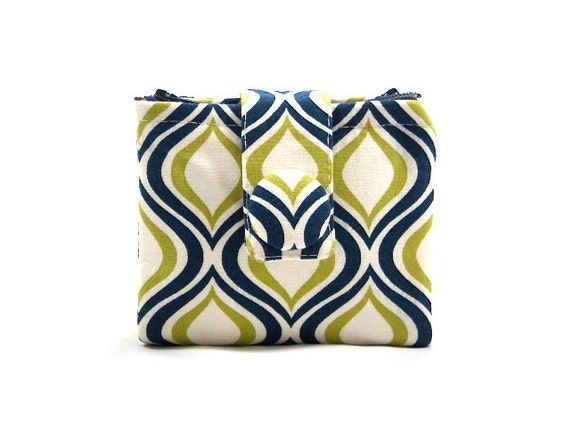 Zippered Wallet Two Sided Pouch Zippered Pouch Coin Purse ID Holder Gift Idea Navy Blue Lime Cream Teen Gift Ready to Ship