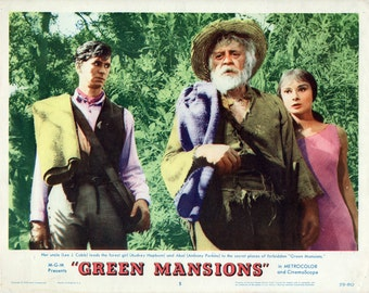 "Green Mansions. Original 1959 11"" x 14"" Movie Poster Lobby Card. William Henry Hudson. Audrey Hepburn. Anthony Perkins. Amazon Romance."