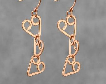 Heart Copper Earring handmade Bridesmaid gifts Free US Shipping handmade Anni designs