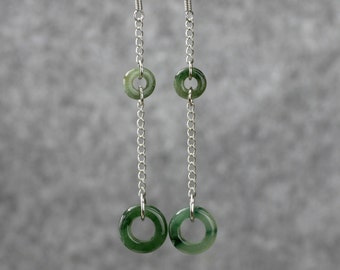 Jade loop dangling earrings Bridesmaid gifts Free US Shipping handmade Anni designs