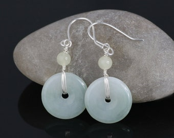 Sterling silver jade hoop earrings Bridesmaids gifts Free US Shipping handmade Anni Designs