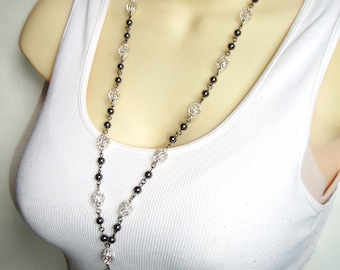 Silver Beaded Lanyard - ID Badge Lanyard with Silver Wire and Black Hematite Beads - Great Gift