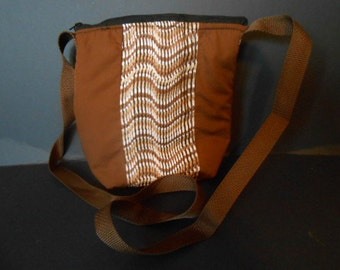 Brown abstract print,   over the shoulder/chest  purse, or diaper bag