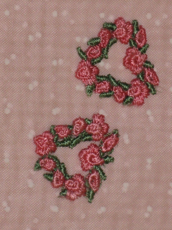 Vintage applique embroidery pink rose rosebud hearts by