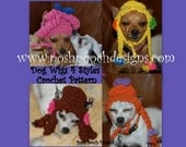 Instant Download Crochet Pattern - Wigs For Dogs 4 styles in 1 pattern - Small Dog Beanie