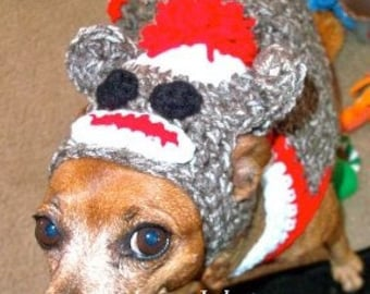 Sock Monkey Custom Dog Costume - small Dog 2-15 lbs - Small Dog Sweater