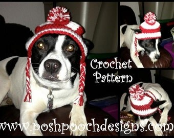 Instant Download Crochet Pattern  Medium Dog Earlap Striped Dog hat - 15 to 30 lbs