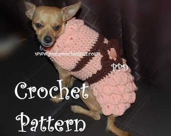 Instant Download Crochet Pattern - Crocodile Stitch Dog Sweater - Small Dog 2-20 lbs
