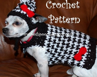 Instant Download Crochet Pattern- Hounds Tooth Dog Sweater and Hat - Small Dog Sweater 2-20 lbs