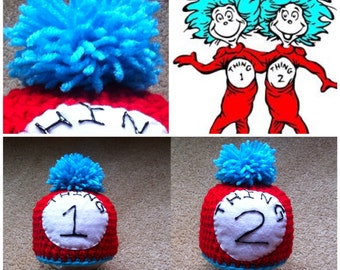 Crochet Thing 1 And Thing 2 Beanie/Hat (Set For Twins)