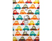 Cars Light Switch Plate Cover / Crazy Cars in White / Boys Playroom Room / By Slightly Smitten Kitte