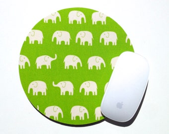Elephant Mouse Pad / Lime Green Elephants / Round Mousepad / Office Home Decor / Japanese Tip Top Canvas Daiwabo