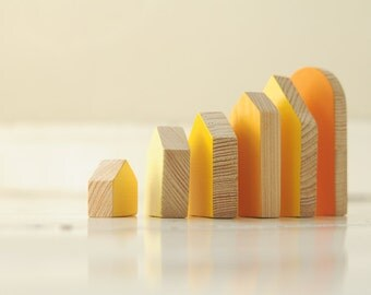 SET of 6 pcs - orange houses - hand painted wooden village, miniature village, hand painted house, little wooden house