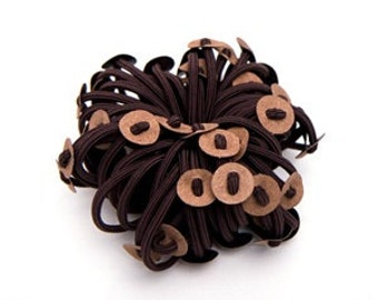 24pcs Hair Elastic Ring w/ 24mm Round Synthetic Leather Base in Black and Brown(Ponytail Holder..Hair Ties.. For DIY Hair Accessories)