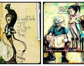 Graffiti Street Art Retro Poetic Art Black Cat Halloween Grungy Art Aqua Yellow Mermaid, Set of (2)  Fine Art Prints