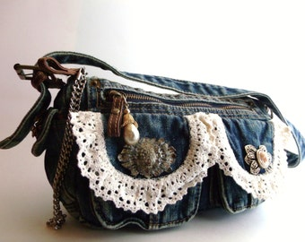 Upcycled Vintage Purse - 12 Removable Vintage Brooches / Pins -  Embellished Jean Shabby Chic Purse