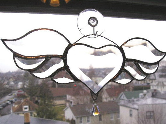 Winged Heart Stained Glass Beveled Glass by ... - photo#6